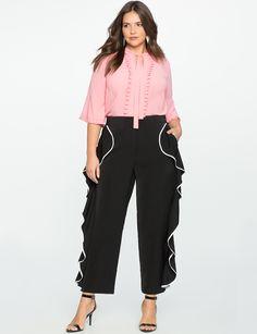 Studio Cascading Ruffle Pant Black w/ White Piping Fat Girl Fashion, Ruffle Pants, Plus Size Pants, Hey Girl, Slim Legs, Hijab Fashion, Black Pants, Plus Size Fashion, Pants For Women