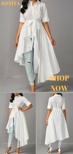 930a0da9ec7d9e rotita. Half Sleeve High Low White Blouse.Quite different long blouse