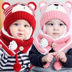 $8.99 - Cute Baby Toddler Winter Beanie Warm Hat Scarf Earflap Knitted Cap Kids #ebay #Fashion Cute Babies, Winter Hats, Beanie, Warm, Crochet, Fashion, Beanies, Winter, Tejidos