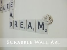 How to: Kids' Room Giant Scrabble Wall Scrabble Kunst, Scrabble Wall Art, Scrabble Tiles, Scrabble Letters, Cork Tiles, Scrabble Wand, Diy Wall Art, Wall Decor, Diy Home Decor