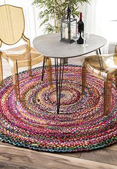 Casual Handmade Braided Cotton Multi Round Area Rugs, 8 Feet Diameter Round (8' Round) Rugs USA http://www.amazon.com/dp/B018GTK3QW/ref=cm_sw_r_pi_dp_1-rOwb1RSREN7