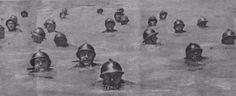 CAIMANI DEL PIAVE Erano uno speciale reparto di Arditi volontari che, con tecniche offensive particolari avevano adottato la tecnica del nuoto simile agli alligatori. Il loro combattimento nel Piave era a mani nude e a lama corta . In acqua, ricoperti di una mistura di grasso e nerofumo, esponevano solo la testa e da ciò venne probabilmente il nome di Caimani del Piave.