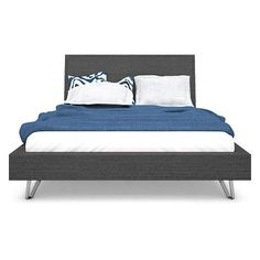 Platform bed with cross cut oak veneers in stained charcoal finish with nickel plated accents. The Contour series feature chamfered soft edges and corners. Contemporary Furniture Stores, Modern Contemporary, Double Dresser, My Room, King Size, Nightstand, Mattress, Master Bedroom, Modern Design