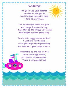 Goodbye Poem for Students Classroom Freebies: Goodbye Poem for Students Preschool Poems, Preschool Activities, Preschool Graduation Poems, Pre K Graduation Songs, Goodbye Songs For Preschool, Preschool Projects, Graduation Quotes, Preschool Class, Graduation Ideas