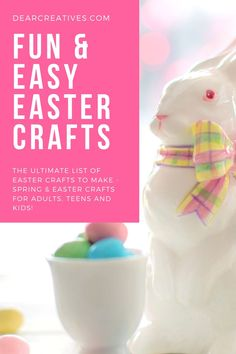 Easter Crafts - Find easy, fun crafts to make for Easter that are for adults, teens, and kids. This is a growing list of crafts that anyone can make! Easter Crafts To Make, Easter Crafts For Adults, Easter Projects, Bunny Crafts, Crafts For Teens, Diy Projects, Felt Crafts Patterns, Paper Plate Crafts, Easter Treats
