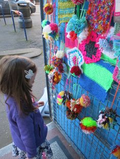 Enjoying playing with the yarn bombing :) Yarn Bombing, Creative, Fabric, Projects, How To Make, Tejido, Tela, Fabrics, Tile Projects