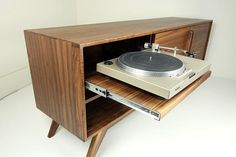 "The ""BlackGold"" is a mid century modern TV console, record player pull out Vintage Stereo Console, Tv Console Modern, Mid-century Modern, Record Player Cabinet, Stereo Cabinet, Vinyl Record Storage, Audio Room, Adjustable Shelving, Mid Century"
