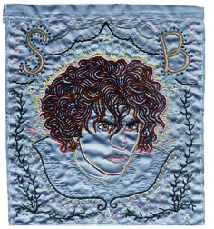 Syd Barrett - 2003, hand embroidery on satin. Collection of Tad Williams. Sublime Stitching