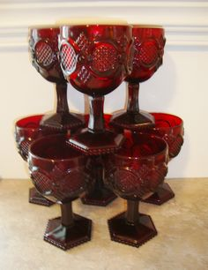This beautiful set of 8 Avon Cape Cod style large wine goblets is perfect for the upcoming holidays. The Cape Cod pattern was manufactured from 1975 until 1993. This set is in excellent condition. Each goblet measured 4 1/2  tall and is 3 3/8  in diameter.