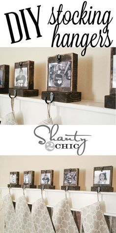 Easy Diy Wooden Stocking Hangers! Perfect idea! I like this idea but probably would change it a bit.