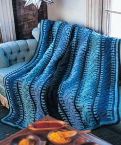Alaskan Blue Tunisian Crochet Blanket