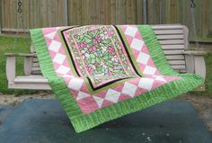 "Large Lap Quilt, Sofa Quilt or Nap Quilt Pink and Green Magnolia Stained Glass Look Quilt 50 x 70"" via Etsy."