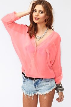 Neon Wrap Blouse in Pink