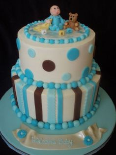 Baby boy shower cake idea - Dots and stripes