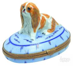 Limoges box (this is an english toy spaniel/king charles spaniel not a cavalier king charles spaniel)