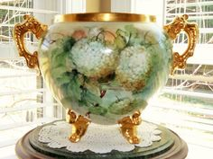Stunning LImoges Jardiniere, Gold Feet and Gold loop Handles from rememberedtreasures on Ruby Lane