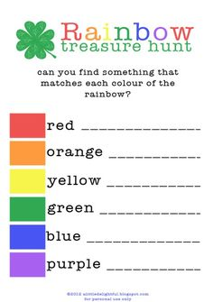 Patrick's Day Activities: printable rainbow treasure hunt for st. patrick's day - a little delightful St Patrick Day Activities, St Patricks Day Crafts For Kids, St. Patricks Day, Rainbow Birthday Party, Rainbow Party Games, 5th Birthday, Birthday Ideas, St Paddys Day, Luck Of The Irish