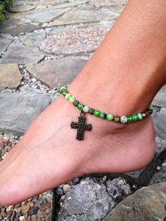 Wow Green agate gemstone ankle bracelet with by FireSpiritandSoul, $14.00