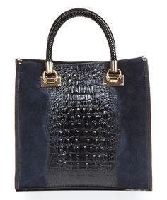 Look at this #zulilyfind! Blue Croc-Embossed Square Leather Satchel #zulilyfinds
