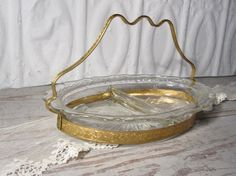 Crystal and Gold Divided Dish by momentofnostalgia on Etsy. Home & Living  Kitchen & Dining  Dining & Serving  Serving Odds & Ends  french  paris chic  gold  crystal  handle ornate  trinket  glass  cottage chic  epsteam  momenofnostalgia  vintage  candy dish