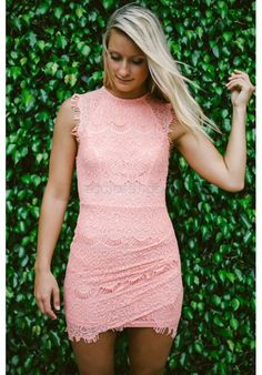 coral lace bodycon dress with capped sleeves