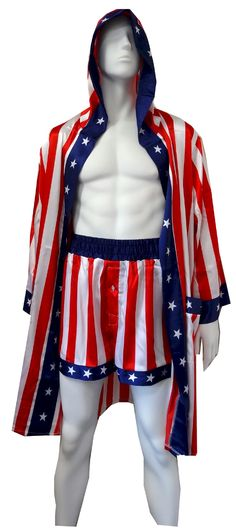 Apollo Creed Satin Boxers with Hooded Satin Robe  If you are a Rocky fan and always wanted to be like the King of Sting, now is your chance! This soft satin set includes boxer shorts fashioned like those worn by Apollo Creed in the patriotic theme, complete with the wide waistband (button fly). Boxers fit size small through large. The coordinating robe completes the warm-up look, with a hood and exterior belt with the American flag theme. No interior tie. An affordable luxury! $45