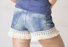 Katrinshine: Denim shorts decorated with lace ribbon