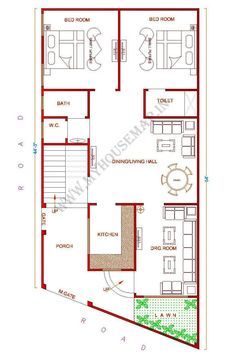 west facing small house plan with front garden and parking 10 Marla House Plan, 2bhk House Plan, Model House Plan, Modern House Floor Plans, Home Design Floor Plans, Small House Plans, Unique Floor Plans, Home Map Design, Plan Design