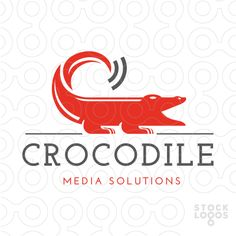 Bold red alligator/crocodile with the tail designed with a wifi signal to…