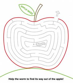 Help the worm to find its way out of the apple! Mazes For Kids, Worksheets For Kids, Kindergarten Worksheets, In Kindergarten, Classroom Projects, Classroom Activities, Activities For Kids, Summer Crafts For Kids, Summer Kids