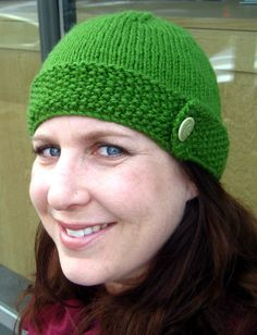 Hand Knit Green Seed Stitched Hat with Button by lieslknits