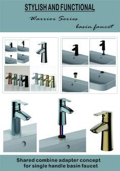 Shared combine adapter concept for single handle basin faucet Lavatory Faucet, Bathroom Medicine Cabinet, Basin, Handle, Concept, Stylish, Door Knob