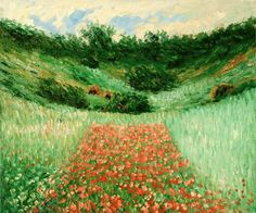 """""""Poppy Field in a Valley near Giverny"""" by Claude Monet"""