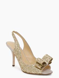 """Kate Spade """"Charm"""" heels in platinum, $328"""