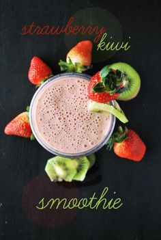 Save this cool and tasty Strawberry Kiwi smoothie recipe for those hot summer days.