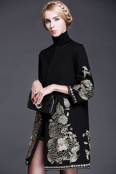 Gold Flower Embroidery Long-sleeve Covered Button Sashes Wool Slim Coat in Coats & Jackets Free worldwide shipping! Fashion Brands, Luxury Fashion, Womens Fashion, Diy Fashion, Fashion Tips, Abaya Fashion, Fashion Dresses, Gypsy Fashion, Embroidery Fashion