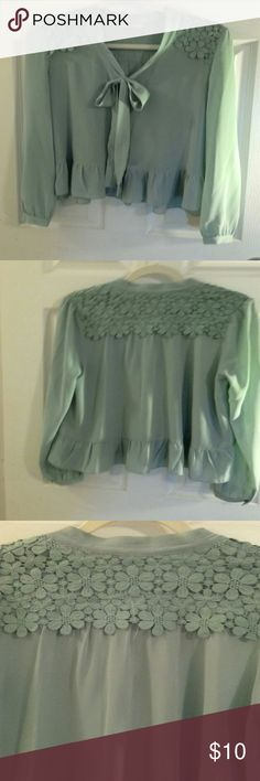 "Darling Sz M Polyester Laced Sage Green Blouse Polyester ( Laced Shoulder measures 16"" across) Sage Green Long Sleeve Blouse Darling Tops Blouses"