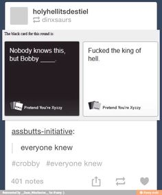 fucked the King of Hell. / Supernatural<<<<*claps for our amazing fandom* My Tumblr, Tumblr Posts, Funny Memes, Hilarious, Spn Memes, Captive Prince, Bobby Singer, Destiel, Johnlock