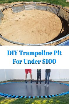 DIY Trampoline Pit How to DIY a trampoline pit, create a trampoline inground retaining wall and make a spring cover that won't blow away. Trampoline Springs, Sunken Trampoline, In Ground Trampoline, Backyard Trampoline, Backyard Playground, Backyard For Kids, Backyard Games, Backyard Projects, Diy Backyard Improvements