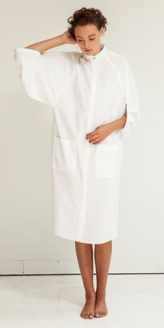 Look Eclipse Artisan Shirt Dress in White Modest Dresses, Casual Dresses, White Shirts, Minimal Fashion, Chic Outfits, Celine, Lounge Wear, Blouses For Women, Menswear