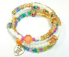 Colorful Handmaded Beaded Coil Bracelet Memory by RandRsWristCandy $9 #handmade #etsy #jewelry