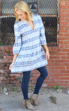 Regina Blouse – Blue, Yellow, White Plaid by CP Shades USA, cp shades clothing, cp shades tunics, free people, anthropologie. Pullover tunic top with 3/4 length convertible sleeves.  Pintucking detail down front & center back. Features open V-neckline & mandarin collar.  Roomy & Airy for comfort. Double layer 100% Cotton plaid on the outside and striped on the inside.