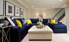 family room- love the storage ottoman (jane lockhart design gallery) Blue Couch Living Room, Living Room Drapes, Living Room Furniture, Pine Furniture, Blue And Yellow Living Room, Blue Couches, Yellow Walls, Country Furniture, Modern Furniture