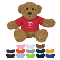 These Cute, Cuddly Animals Are A Great Way To Show Your Logo And Get Your Message Across. Features 14 shirt colors and multi-color imprinting. Personalized Teacher Gifts, Team Mascots, Colorful Shirts, Plush, Teddy Bear, Logos, Cute, Gold Light, Light Blue