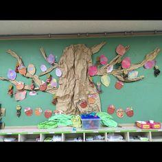 くしゃくしゃにした紙を大きな木に見立てどんぐりや葉・みのむしを貼り付けた壁面 Children, Frame, Home Decor, Young Children, Picture Frame, Boys, Decoration Home, Room Decor, Kids