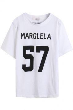 White Short Sleeve Marglela 57 Print T-Shirt