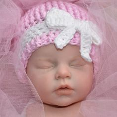 Cotton baby hat with bow, Infant hat, Photo Prop Infant Hat, Baby Needs, Baby Hats, Photo Props, Bows, Crotchet, Trending Outfits, Handmade Gifts, Cotton