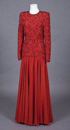 Bruce Oldfield Scarlet Silk Bead Embellished Long Dress (1986 royal tour of Saudi Arabia with Charles)