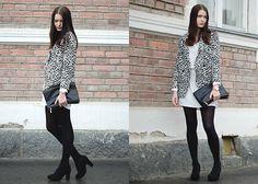 Black and white outfit Black clutch, blazer H&M White dress Gina Tricot Black heels Seppälä