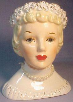 "Napco 5-3/4"" Lady Head Vase W Floral Garland in Hair"